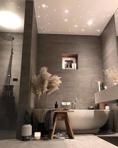 Relaxing Bathroom Decor Ideas For Your Bathroom Look Bathroom Spa, Modern Bathroom, Small Bathroom, Bathroom Lighting, Bathroom Marble, Marble Wall, Bathroom Ideas, Navy Bathroom, Relaxing Bathroom