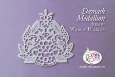 Damask edible lace design for wedding cakes. Laced sugar by Art Eats Bakery in Greenville, SC