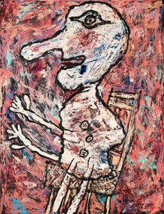 """Jean Dubuffet (French, """"Nez long et chaise septembre"""". Signerad J. 61 a tergo. Duk 116 x cm. Modern Art, Contemporary Art, Jean Dubuffet, Jean Philippe, Art Brut, Arte Popular, Outsider Art, Western Art, Various Artists"""