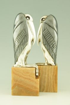 Art Deco Bronze Marabou Stork Bookends by M. Bouraine
