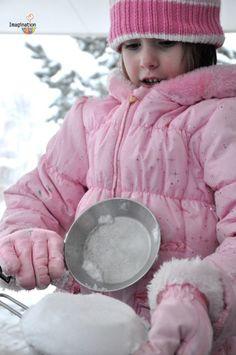 6 fun snow activity ideas for kids (LOVE the snow taffy recipe and the snow kitchen idea!)
