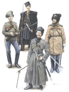 Russian Cossacks of the Imperial Army, World War I. L to right: Trans-Baikal Host, Kuban Host, Terek Host, Don Host.