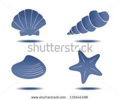 abstract hand drawn seashell symbols for design vector set - stock vector