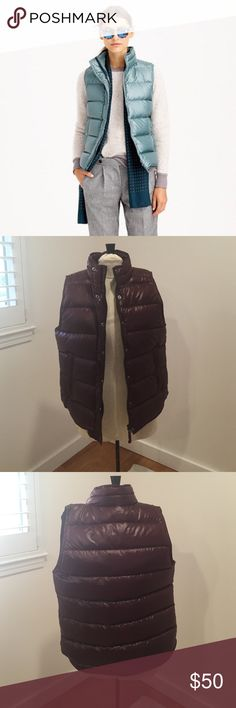 J. Crew shiny puffer vest in Maroon/Cranberry J. Crew shiny puffer vest in maroon/cranberry color (NOT green, first picture shown for fit). Worn only once, great condition. Make me an offer! No trades! J. Crew Jackets & Coats Vests