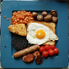 Full English Breakfast! My Mum and Dad had this nearly every day of their lives (minus the beans) - and they weren't overweight or unhealthy!!