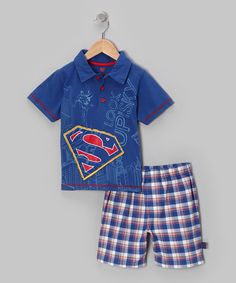 Take a look at this Blue Plaid Superman Polo & Shorts - Toddler & Boys on zulily today!