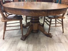 Antique Oak Round Table