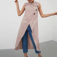 Plus Size Casual Cross Collar Asymmetrical Tank Tops Women Blouse - Banggood Mobile Plus Size Casual, Casual Tops, Georgia, Asymmetrical Tops, Color Khaki, Plus Size Blouses, Long Tops, European Fashion, Sleeveless Blouse