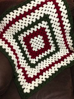 Granny Square Baby Afghan Christmas Colors by HouseofYorkHandmade