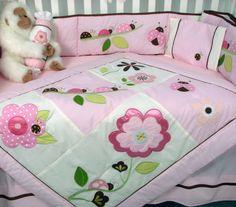 BRand New Soho Design Lady Bug/Lady Bird 10 Piece pink Cot Bed Bedding Set