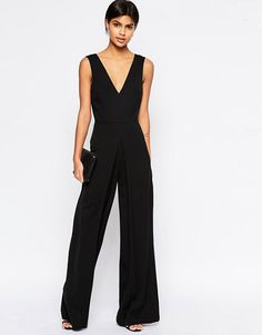 12578cf7dc0 ASOS V Neck Jumpsuit in Wide Leg with Pleat at asos.com
