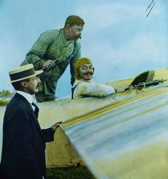 Adolphe Pegoud and his Bleriot Monoplane, 1913.