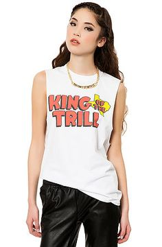 The King Of The Trill Muscle Tee in White by Untitled & Co