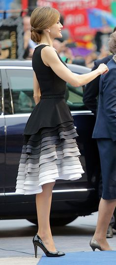 Queen Letiza of Spain, Black dress with layered color fade skirt