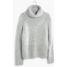 MADEWELL Handknit Cozy Turtleneck Sweater ($100) ❤ liked on Polyvore featuring tops, sweaters, shirts, hthr cloud, hand knit sweater, shirt sweater, polo neck shirts, turtleneck shirt and madewell