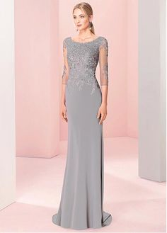 Buy discount Marvelous Tulle & Spandex Bateau Neckline 3/4 Length Sleeves Sheath/Column Mother Of The Bride Dresses With Beadings & Lace Appliques at Laurenbridal.com