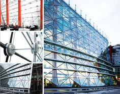 The building of the Kreissparkasse (Bank) at Heinsberg has one  of the first biaxial curved cable facades in the world. Double  curved structures can be constructed using two cables run in  different directions. The cable construction can not only absorb  loads from wind forces, fluctuating temperatures, pretension and  snow, it can also carry its own weight. Solar control glass, Solar lux polaris 65/36, with Ug  = 1.1 W/m2  K was used. Building Skin, Tensile Structures, Double Skin, Skin Structure, Chula Vista, Glass Facades, Construction, Detailed Drawings, Facade Design