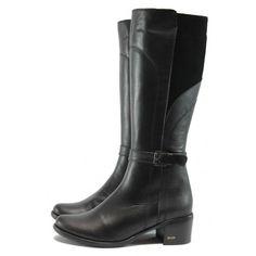 Черни дамски ботуши, естествена кожа - ежедневни обувки за есента и зимата N 10007756