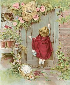 Little girl at garden door