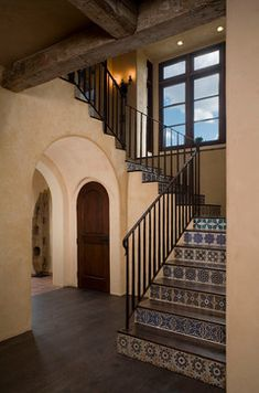Beautiful Spanish tile staircase in hacienda style home. Stylish Western Home Decorating House Design, New Homes, Mediterranean Homes, House Styles, Tile Stairs, Spanish Style Homes, Staircase Design, Home, Mediterranean Style Homes
