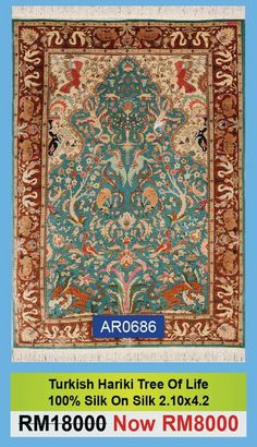 #Turkish #hariki #tree of #life #carpet made of #100% #Silk is on #special #sale at #Abeerugs #6th #Year #Anniversary #Sale from 1st till 31st December, 2017 at #Jalan #YapKwanSeng #KualaLumpur.  Fix appointment with us at 1800-88-1847 or visit our promotion portal http://abeerugs.com/sale for more informations.