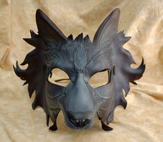 Grey and Black Direwolf Game of Thrones  House of Stark Inspired Leather Wolf Gmork Cosplay Mask