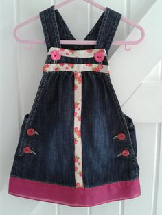 BABY BLUES -'Rosy' over dress up-cycled denim 12-18 mnths £10.00