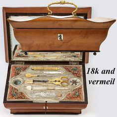 c. 1800 Palais Royal Sewing Box, Casket, 18k Gold Thimble, Vermeil and Mother of Pearl Sewing Tools, Perfume