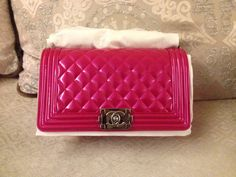 Chanel hot pink metallic leboy ready to ship   Daily update on wechat : alwaysclassy or E-mail : 2653764383@qq.com