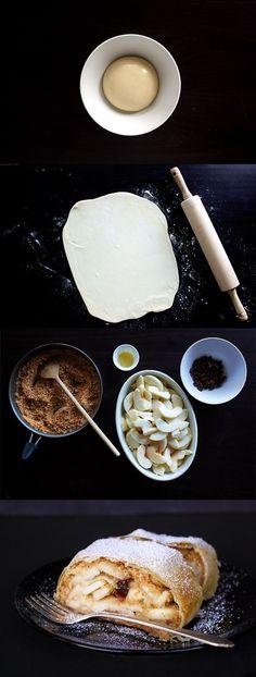 Original Viennese Apple Strudel - easy to make with this step by step guide ; Austrian Desserts, Austrian Recipes, Austrian Food, German Recipes, Apple Strudel, Apple Bread, Granny's Recipe, Raisin, Vienna
