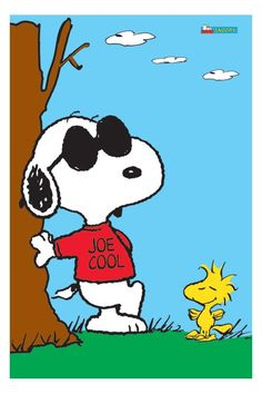 Snoopy Dressed as Joe Cool in Red Sweatshirt and Sunglasses Leaning Against a Tree With Woodstock Standing Nearby -Play It Cool - It's Monday Bugs Bunny Pictures, Snoopy Pictures, Peanuts Cartoon, Peanuts Snoopy, Charlie Brown Y Snoopy, Sally Brown, Snoopy Quotes, Joe Cool, Favorite Cartoon Character