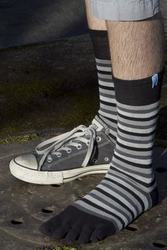 Striped Midcalf Toe Socks - Sock Dreams - Unique Colorful Socks