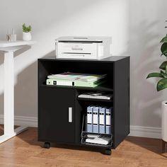 DEVAISE Mobile Printer Stand | Wayfair Printer Cart, Printer Stand, Printer Scanner, Microwave Cart, Rolling Storage Cart, Mobile Printer, Wood Storage Cabinets, Narrow Kitchen, Business Furniture