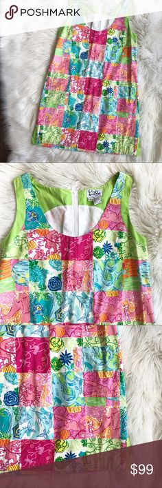 "Rare - Lilly Pulitzer Party Patch Mini Dress How and unique cute is this dress?! Vintage White Label Lilly Pulitzer. ""Party Patch"" patchwork print. This print is so much fun! Monkies, sharks, swordfish, elephants, lions and the bright colors you expect from Lilly! In excellent used condition. Size medium. This dress has green trim and front pockets as well. Measurements to come. No trades, offers welcome. Lilly Pulitzer Dresses Mini"