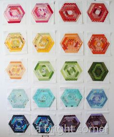 hexing around quilt blocks into quilt..love it