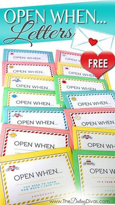 """Printable """"OPEN WHEN…"""" Letters. Perfect inexpensive gift idea for Christmas, Birthday, Valentine's, Anniversary, or just because. This is a gift that lasts all year long. I'm giving this to my husband..."""