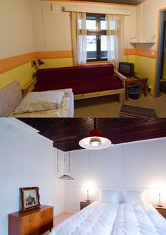Before and after at 7 Fells Hostel. Secondhand furniture with a twist!