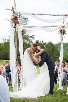 First kiss in a rolling TN meadow! Yes, please! #Cedarwoodweddings Shaila+Joshua :: 06.18.2016 | Cedarwood Weddings