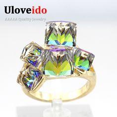 50% de réduction Dames De Mode Bleu Bagues de Fiançailles De Luxe Vintage Cristales Pierre Créé Saphir Anneau Anneaux Pour Les Femmes GR123
