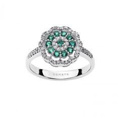 Anello in oro bianco con diamanti e smeraldi #CometeGioielli _ Collezione Vittoria ANB 1880