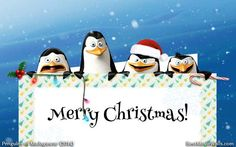 A Christmas wallpaper with Skipper, Kowalski, Rico and Private :]