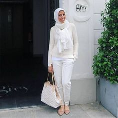 creamy hijab outfit, New trends just for hijab http://www.justtrendygirls.com/new-trends-just-for-hijab/