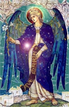 "[Gabriel's] attributes are a lily and a scroll inscribed with ""Ave Maria Gratia Plena."" He is sometimes shown with a scepter or an olive branch as a symbol of peace on earth. -Manly P. Hall, ""The Blessed Angels""  From ""Angels All Around Us."" Compiled by Karen Maguire."