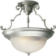 �15-in W Brushed Nickel Marbleized Semi-Flush Mount Ceiling Light at Lowes
