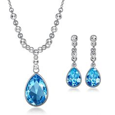 Paration White Gold Plated Set with Aquamarine Blue Crystals From Swarovski By GoSparkling ST-48286 * You can find out more details at the link of the image. #JewellerySets