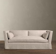 Gorgeous lines: Begian Shelter Arm 7' sofa in Belgian linen, color either flax or fog (greys). Restoration Hardware. Saving pennies.
