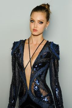 Backstage at Atelier Versace Fall 2013 Couture fashion show. Supermodel Lindsey Wixson. #fashion #runway