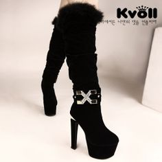 X55381 Kvoll Trendy Rhinestone Letter X Fluff Edge High-heeled Long Boots Black [X55381] - $27.25 : China,Korean,Japan Fashion clothing wholesale and Dropship online-Be the most beautiful Lady