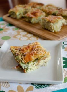 Artichoke, Parmesan and Spinach Crustless Quiche...Use 16 oz of low fat cottage cheese, a 14 oz can of artichoke hearts, and 1/2 cup of Parmesan cheese