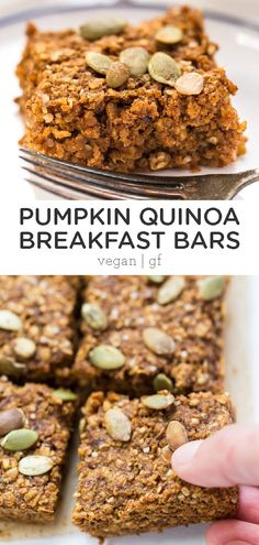 Pumpkin Pie Quinoa Breakfast Bars - Simply Quinoa - - These amazing Pumpkin Quinoa Breakfast Bars will make all your fall dreams come true! High in protein, fiber and complex carbs, they're the perfect way to start the day! Quinoa Breakfast Bars, Fall Breakfast, Breakfast Cookies, Breakfast Healthy, Quinoa Bars, Breakfast Pie, Gourmet Recipes, Whole Food Recipes, Vegan Recipes